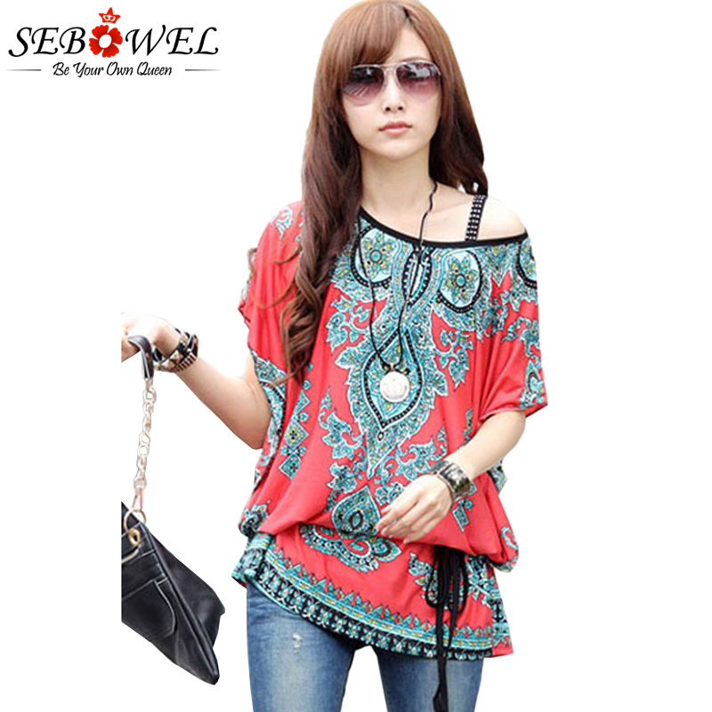 SEBOWEL 2018 Summer Women Festive Red Ethnic Print Chiffon Blouse Onesize kimono women korean shirts streetwear plus size shirt