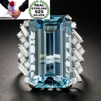 ec7a7f865437 OMHXZJ europea al por mayor moda mujer hombre boda fiesta regalo blanco rectángulo  azul circón de topacio anillo de Plata de Ley 925 RR83