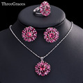 Lovely Ladies Simulated Ruby Jewelry Big Flower Cubic Zirconia Synthetic Diamond Red Necklace And Earrings Set For Party JS200