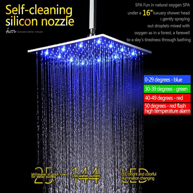 Luxury bathroom shower designs LED Ceiling Shower Head Set 16 Inch ...