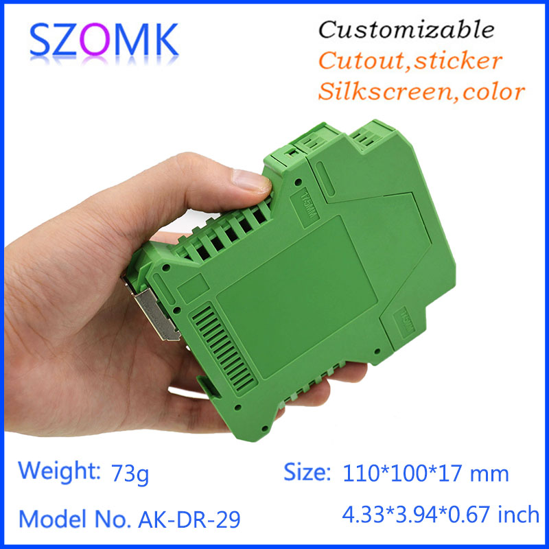 one piece good quality free shipping plastic enclosures abs din rail box diy instrument housing distribution box 110*100*46mm 1 piece plastic box electronics din rail housing szomk din rail plastic enclosures junction box connector terminal block case