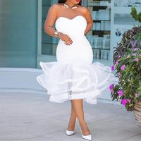 African Women Prom Ruffle Ball Backless Deep V Skinny Dresses Evening Party Date White Tulle Satin Ribbon Bodycon Dress