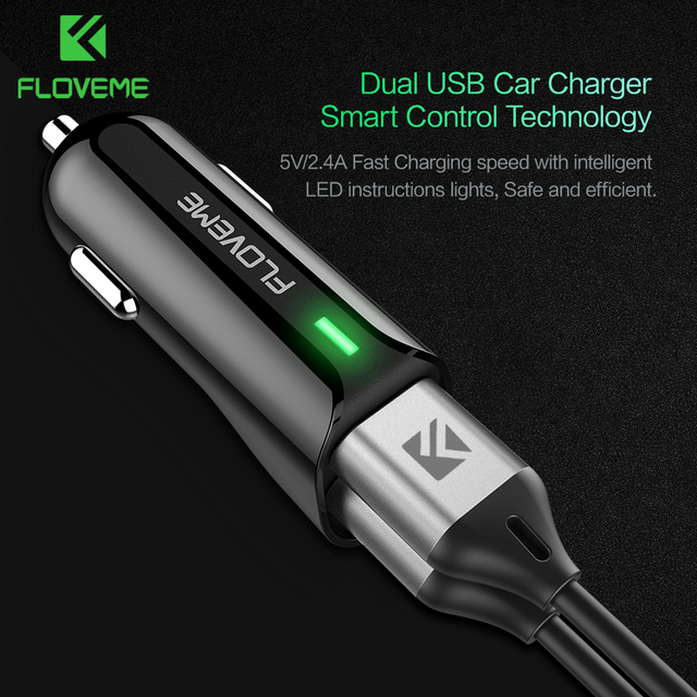 Floveme Usb Car Charger 5v 2 4a Dual Usb Ports Charging For Xiaomi