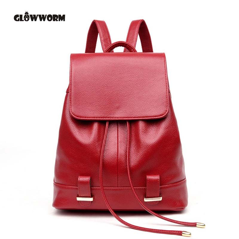 Women Soft Genuine Leather Ladies Backpack high quality shoulder bags backpacks for teenage girls Preppy Style Travel School Bag korea style fashion backpacks for men and women waterproof preppy style soft backpack unisex school bags big capacity bag xa893b