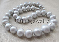 P7555 18 12 16mm 100 Natural Gray Round Freshwater Pearl Necklace GP Clasp