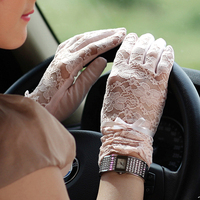 HOT Fashion Women Sunscreen Gloves Female Lace Summer Five Finger Anti UV Wrist Short Sun Driving