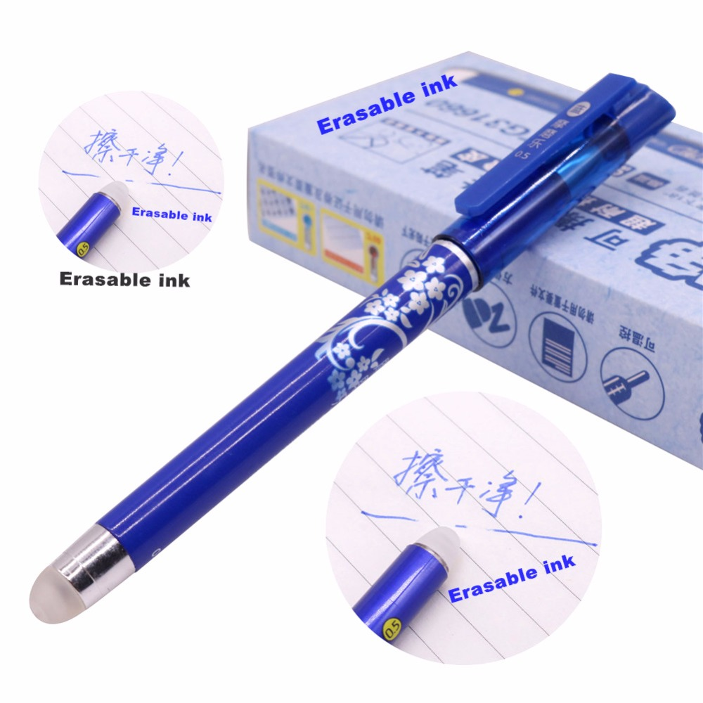 12 Pcs Magic Pen Erasable Gel Pen 0.5mm Tip Blue Refill Student Stationery Writing Pen Wholesale цена