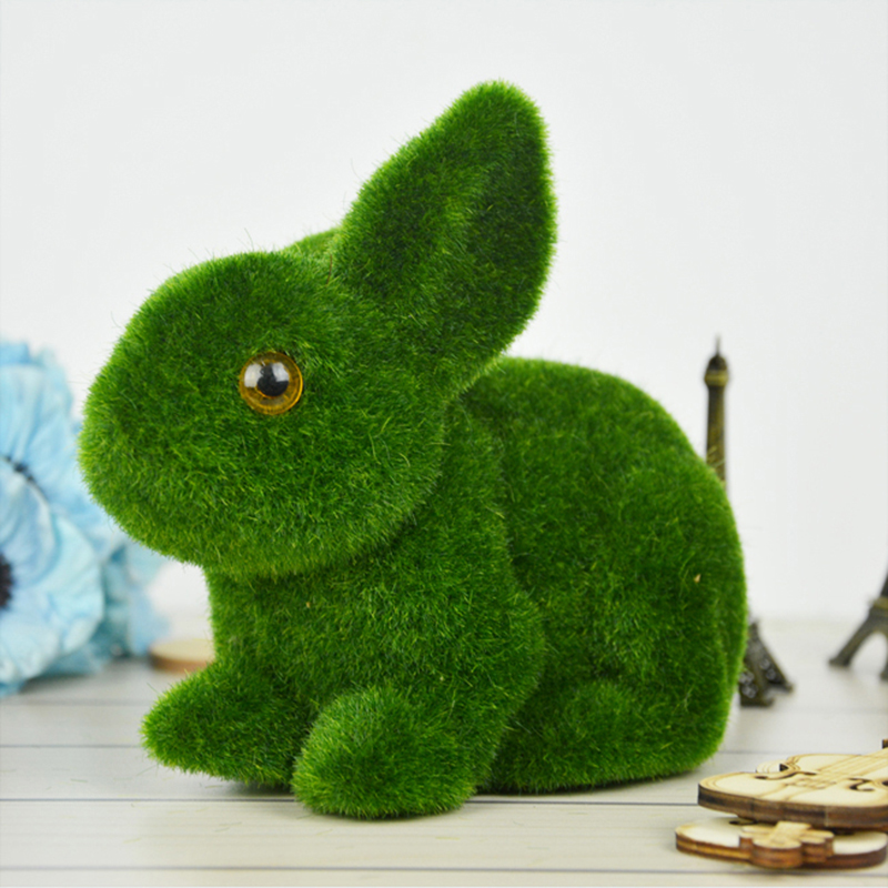Christmas Gifts Green Moss Rabbit Artificial Flower Plant Fake Cute Table Decoration Home Decorative Simulation Animal Tufting