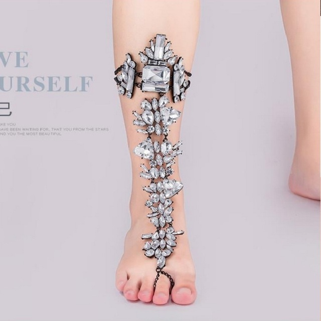 anklets heels barefoot for product leg crochet black style female gladiator women up bracelets lace sandals anklet cotton bracelet ankle