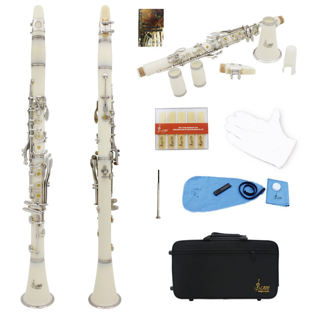 SLADE Clarinet ABS 17 Key bB Flat Soprano Binocular Clarinet with Cork Grease Cleaning Cloth Gloves 10 Reeds Screwdriver Reed excellence bb soprano clarinet bell ebony