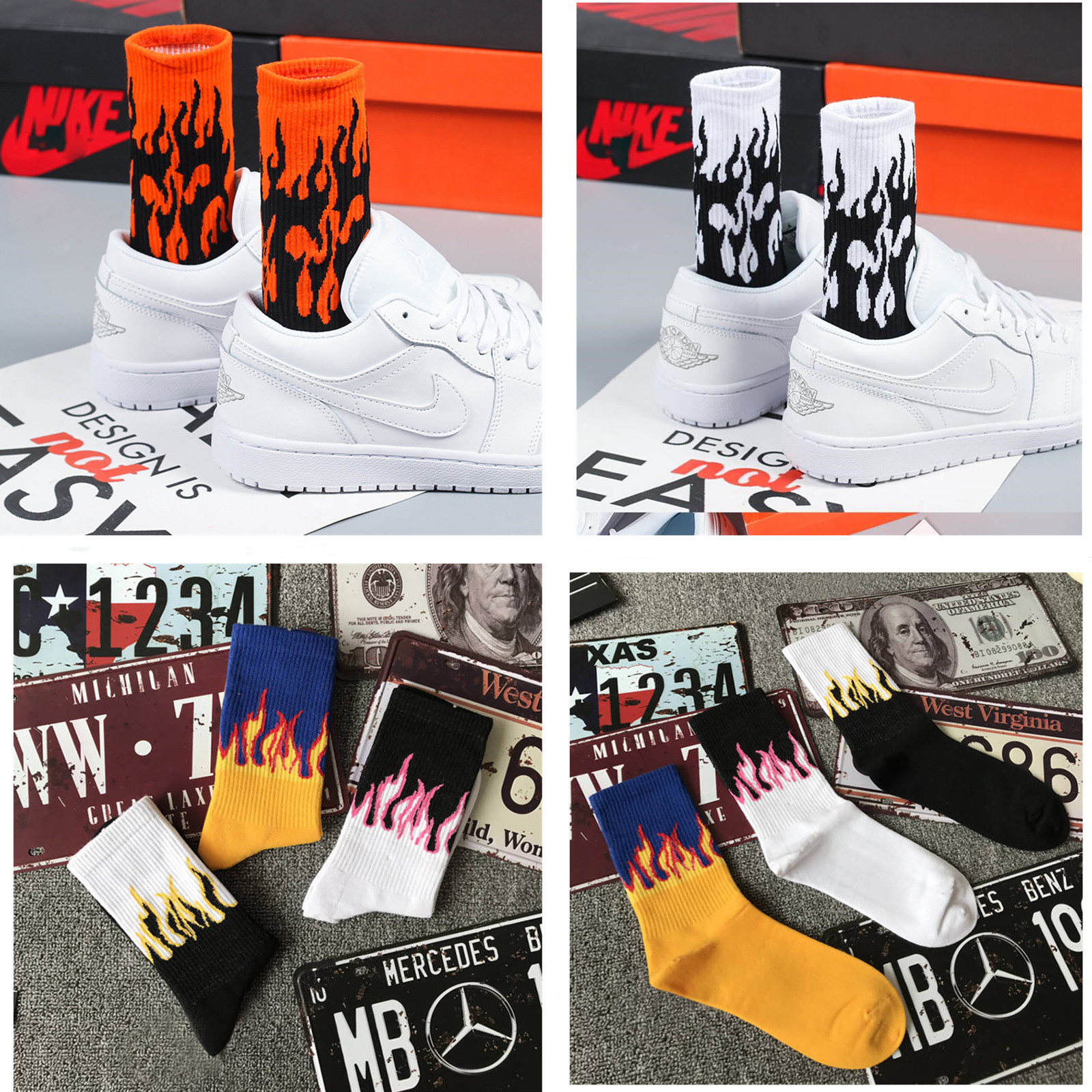 2019 fashion hip hop unisex flame pattern socks street fashion skateboard cool cotton socks Harajuku style retro men socks