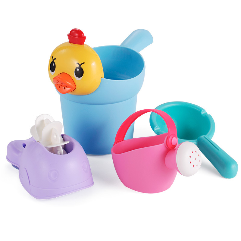 4 Pcs Kids Sand Beach Toys Duck Bucket Waterwheel Play Water Tools Set Children Toddler Bathroom Bathing Shower Toy