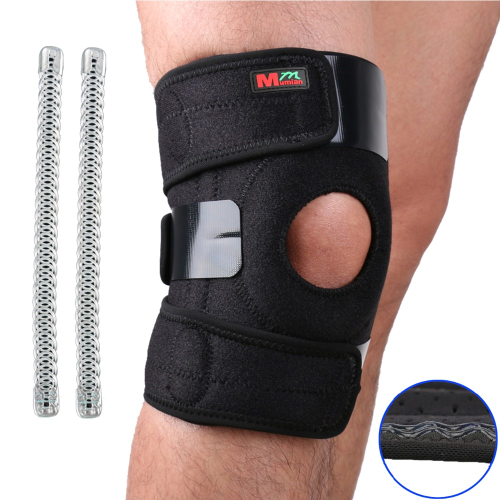 2017 Mumian Knee Adjustable Sports Leg Support Brace Wrap Protector Pads Sleeve Cap Patella Guard 2 Spring Bars,one Size,black 1 piece leg elastic sports knee brace wrap protector cap patella knee guard rubber pressurization knee sleeve pads q7 brand new