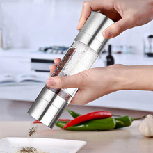 1Pc Pepper Grinder Stainless Steel 2 In 1 Manual Salt And Mill For Spices Kitchen Tools Accessories Cooking