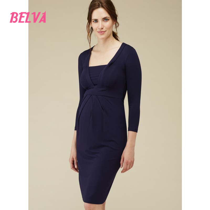Belva Bamboo Fiber pregnancy clothes maternity dress Business Suits For Work pregnant nursing dress Square Collar DR015 belva 2017 half sleeve maternity dress pregnancy for photo shoot photography props high quality bamboo fiber nursing dress	dr138