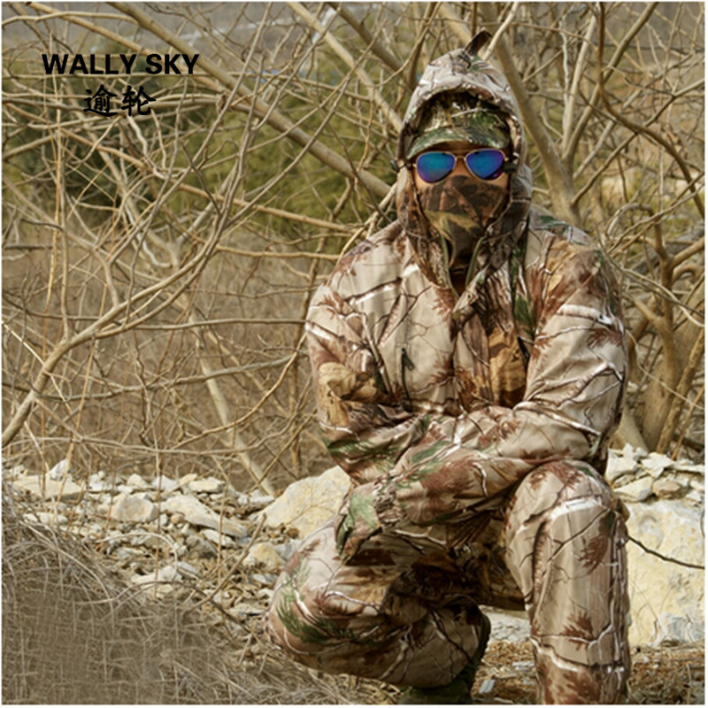 Men Camouflage Hunting Suit Outdoor Jacket Pants Suspender Trousers Hooded Soft Shell Men Ghillie Suit Hunting Clothes Meash 4XL