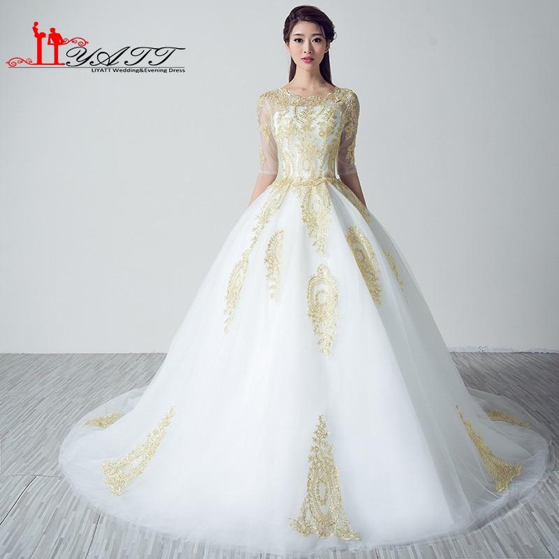 Buy vestidos de noiva gold lace white for Gold vintage wedding dresses