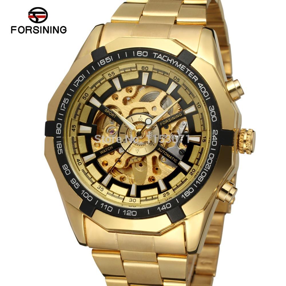 Prix pour FSG8042M4G3 Forsining Automatique mode montre en acier inoxydable bracelet squelette montre livraison gratuite avec boîte-cadeau meilleure offre