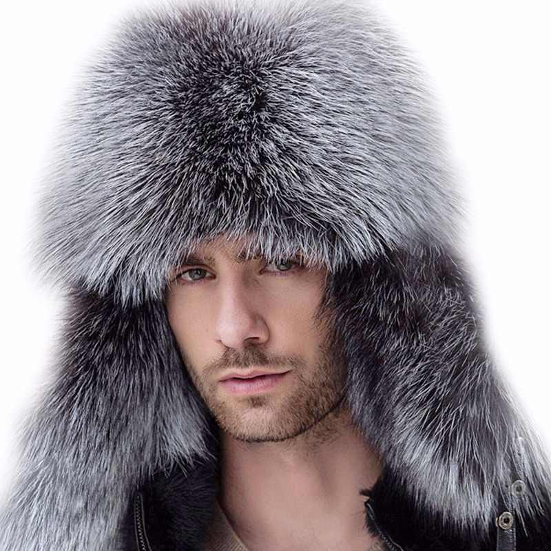 9321dfd4e8b42 Russian leather bomber leather hat men winter hats with earmuffs trapper earflap  cap man real raccoon