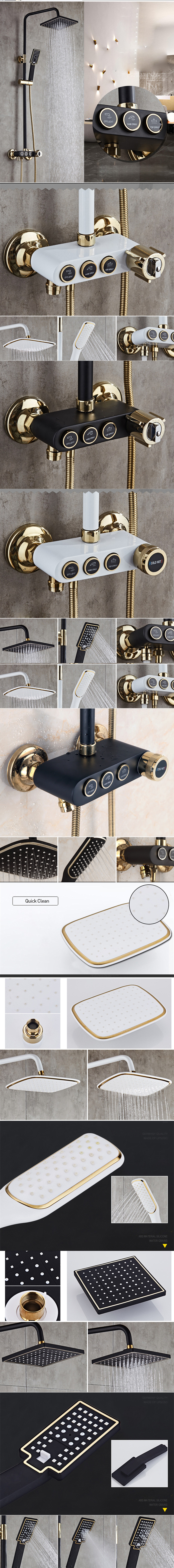HTB1nOosRkzoK1RjSZFlq6yi4VXaS Senducs Thermostatic Shower Set White Gold Bathroom Shower System Quality Brass Bathtub Faucet Newly Intelligent Gold Shower Set