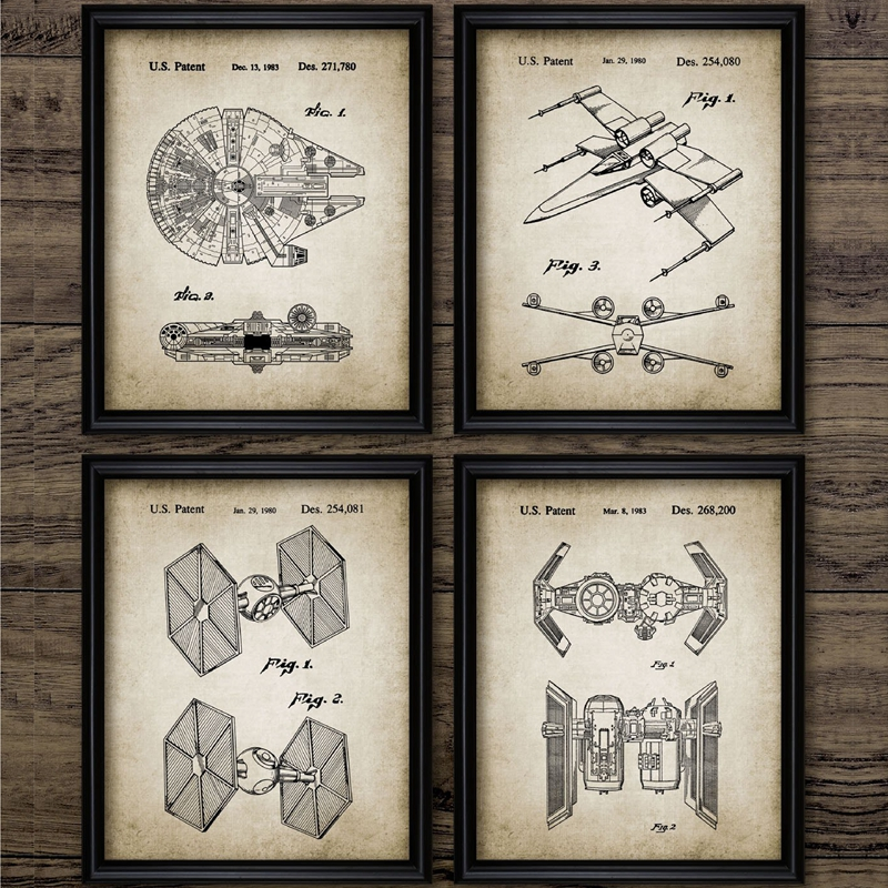 Star Wars Patent Canvas Vintage Posters Boys Wall Art Print Painting Millennium Falcon Spacecraft Retro Pictures Home Room Decor
