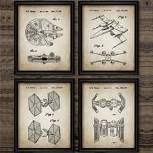 Звездные войны, запатентованный холст, винтажные Плакаты для мальчиков, настенная Художественная печать, живопись, космический корабль «Сокол Тысячелетия», Ретро картины, Декор для дома