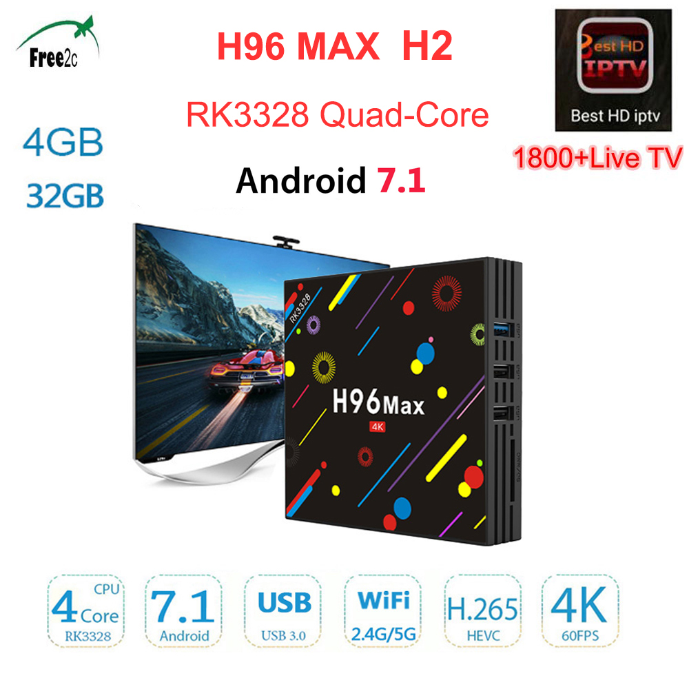 1 Year  European IPTV server H96 MAX H2 Android 7.1 RK3328 4GB 32GB 4G 32G Bluetooth 4.0 WiFi 2.4G/5G set top tv box
