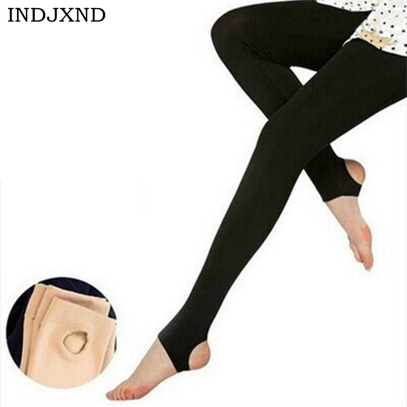 INDJXND 2019 Spring Autumn Women Solid Warm Thin Cashmere Lady Leggings High Waist Elastic Brushed Pants 3 Style Multicolor