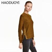 HAODUOYI Moda Vento De Metal Brilhando Glittering Pullovers De Malha Camisola Das Mulheres Zíper Lateral Irregular Hem Malhas Jumper Feminino