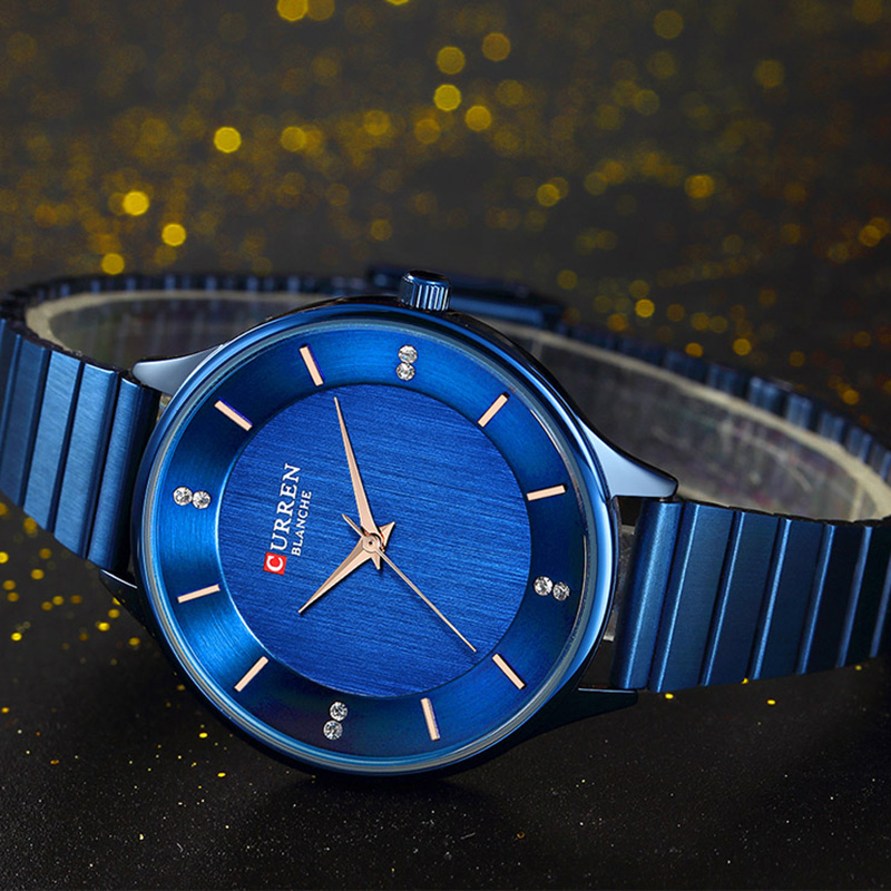 CURREN Elegant Woman Watch 2019 Brand Luxury Blue Women's Wristwatch Stainless Steel Ultra Thin Lady Wrist Watch Female Clock(China)