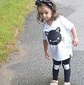 2017 Летний Новый дети одежда набор Дети девушка одежда хлопок мультфильм кошка С Коротким рукавом футболка + брюки 2 шт. мода дети девушка костюм