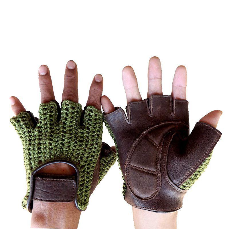 Semi-Finger Gloves Male Spring Summer Breathable Non-Slip Fitness Driving Knitted+Leather Half Finger Man's Gloves A1366-1