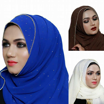Sparkling Glitter Rhinestone Plain Bubble Chiffon Fashion Hijab Scarf Shawl Head Wraps Muslim Amira Shawls Party Wedding Hijabs