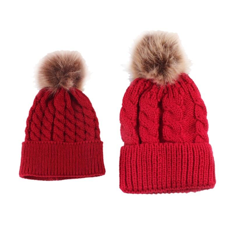2Pcs Parent child Hat Baby Girls Boys Hats Women Mother Hat Warm Winter  Knit Fur Crochet Pompon Winter Caps LM58-in Skullies   Beanies from Men s  Clothing ... 6d286e9a45