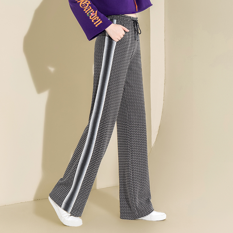 2019 Spring Plaid   Wide     Leg     Pants   Drawstring Palazzo   Pants   Casual Loose Striped gray   Pants   Houndstooth Trousers