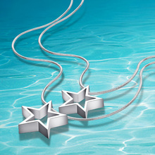 Free shipping Fashion solid 925 sterling silver snake chain necklace woman Ms. Silver Star Pendant real silver jewelry