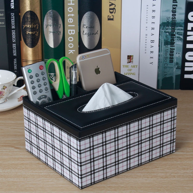PU leather tissue storage box Desktop remote control organizer wooden box cosmetic storage for home decoration storage SNH008A