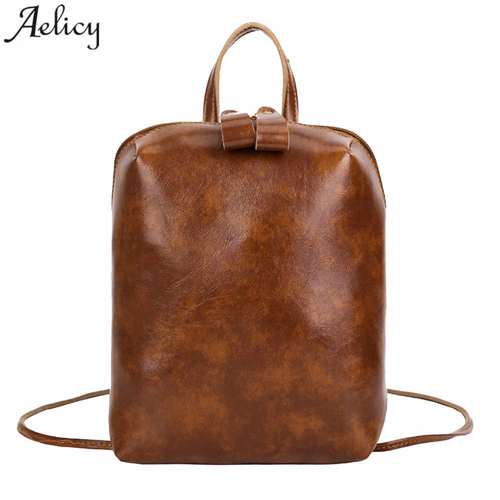 cbafe16cc80 Aelicy Women Backpack Vintage Pure Color Leather Student Girls School Bag  Backpack Shoulder bags for women