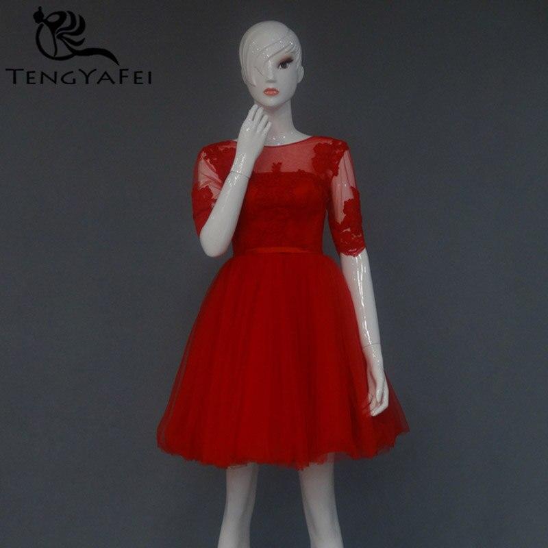 new hot Sexy backless red short   Prom     Dresses   appliques vestido de festa real photos evening   dress   2015 half sleeve a-line