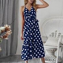 Women Sexy Summer Boho Dot Print Camisole V-Neck Dress Ladies Bandage Sundress