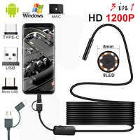 Android PC Typec-C/USB HD 1200P эндоскоп камера полу-жесткий кабель светодиодное освещение Водонепроницаемый эндоскоп осмотр Borescopes