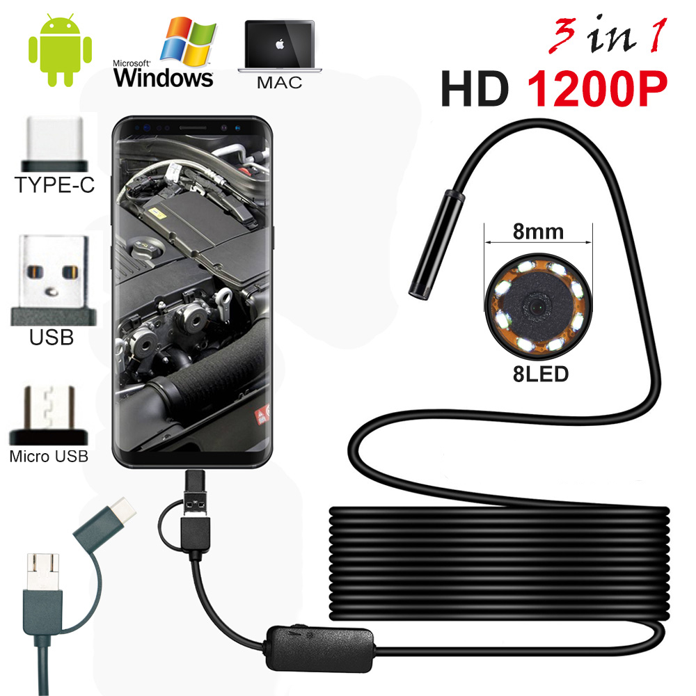 Android PC Typec-C/USB HD 1200P Endoscope Camera Semi Rigid Cable Led Lighting Waterproof Endoscope Inspection Borescopes