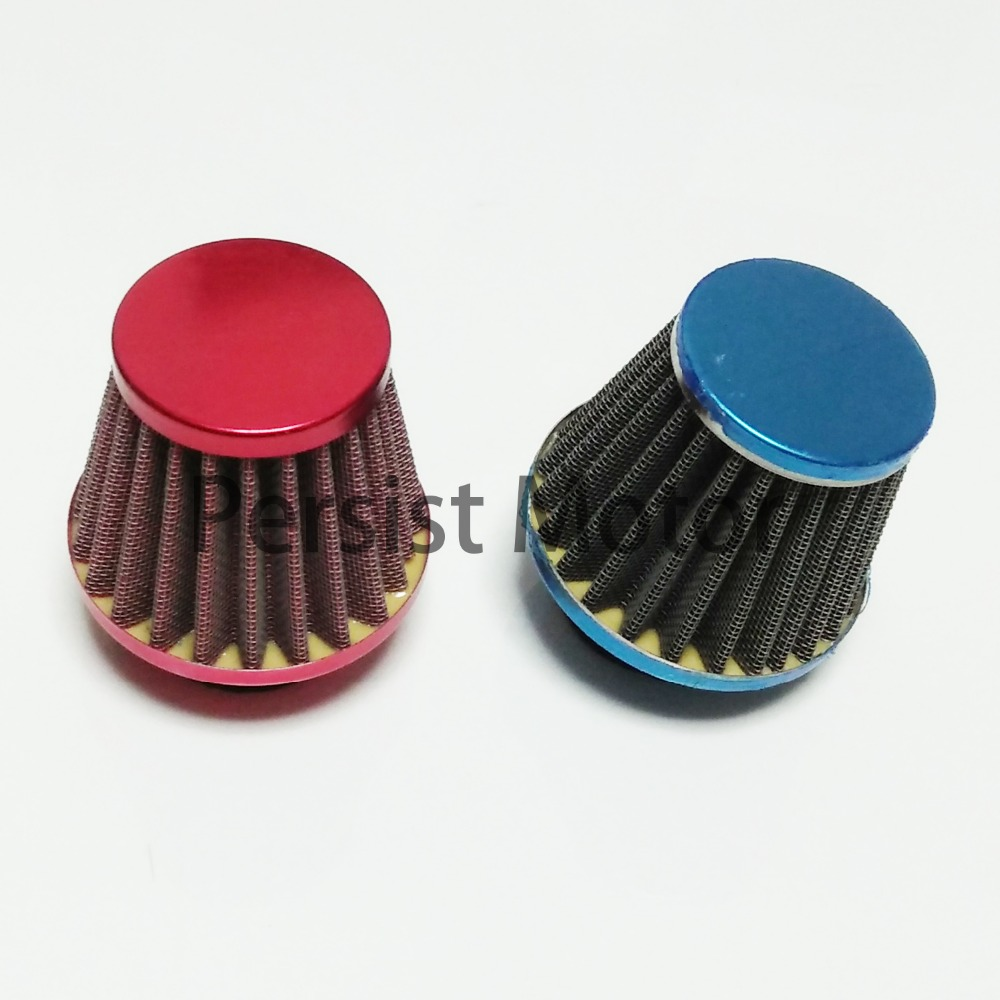 48mm Pitbike Air Filter Red Performance Mushroom Angled Neck With Cover