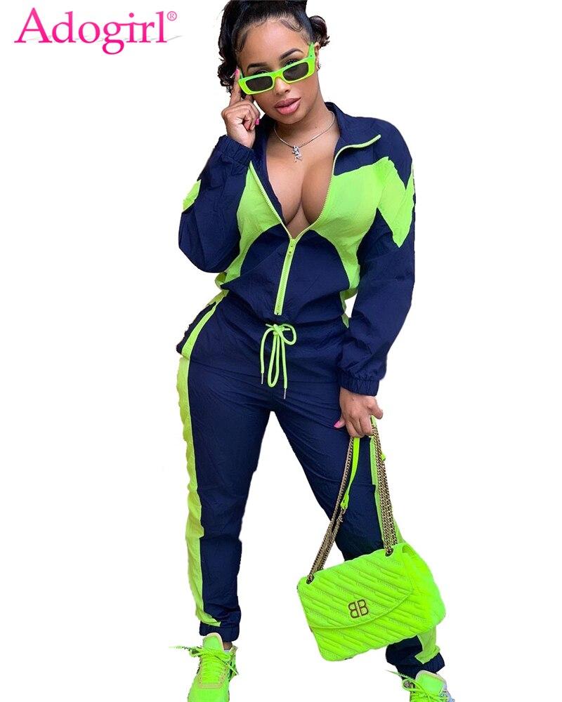 Adogirl Color Patchwork Women Tracksuit Casual Loose Two Piece Set Waterproof Zipper Long Sleeve Top + Pants Outdoor Sportswear
