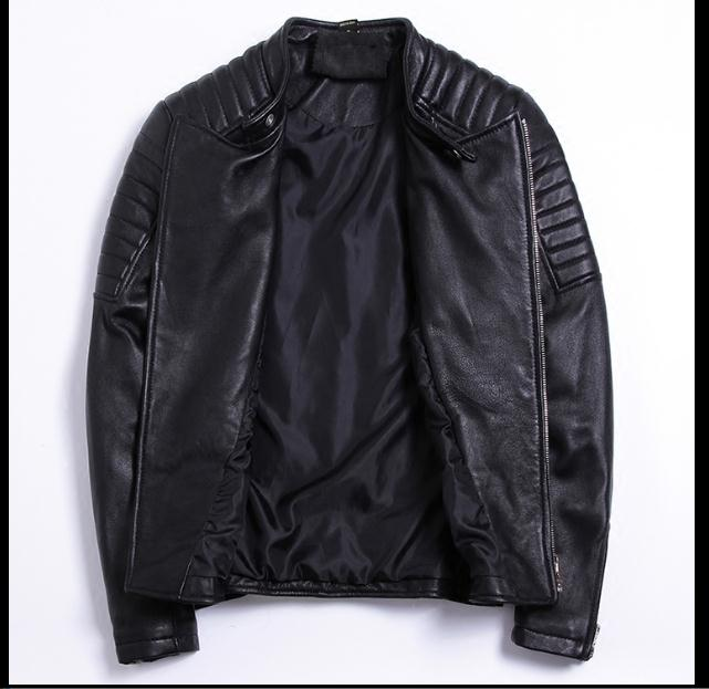 Moto biker style,Plus size Brand soft sheepskin leather Jackets,mens genuine Leather jacket, motorbiker slim coat