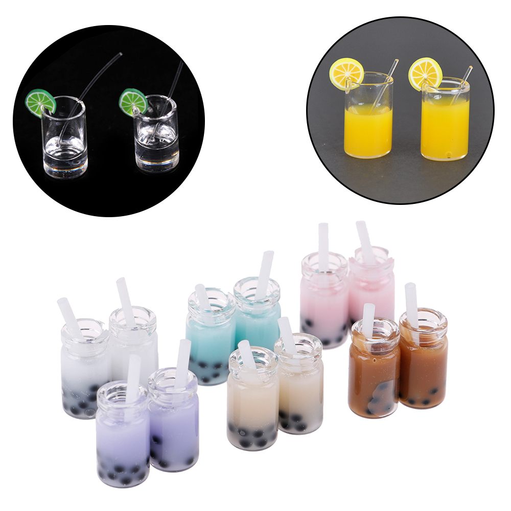 2pcs/lot Mini Resin Lemon Water Cup 1:12 Dollhouse Miniature Doll House Accessories Cups Toy Mini Decoration Gifts Furniture Toy