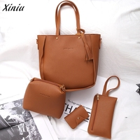 Women Four Set Handbag Shoulder Bags Four Pieces Tote Bag Crossbody Wallet Handbags Handbags Of