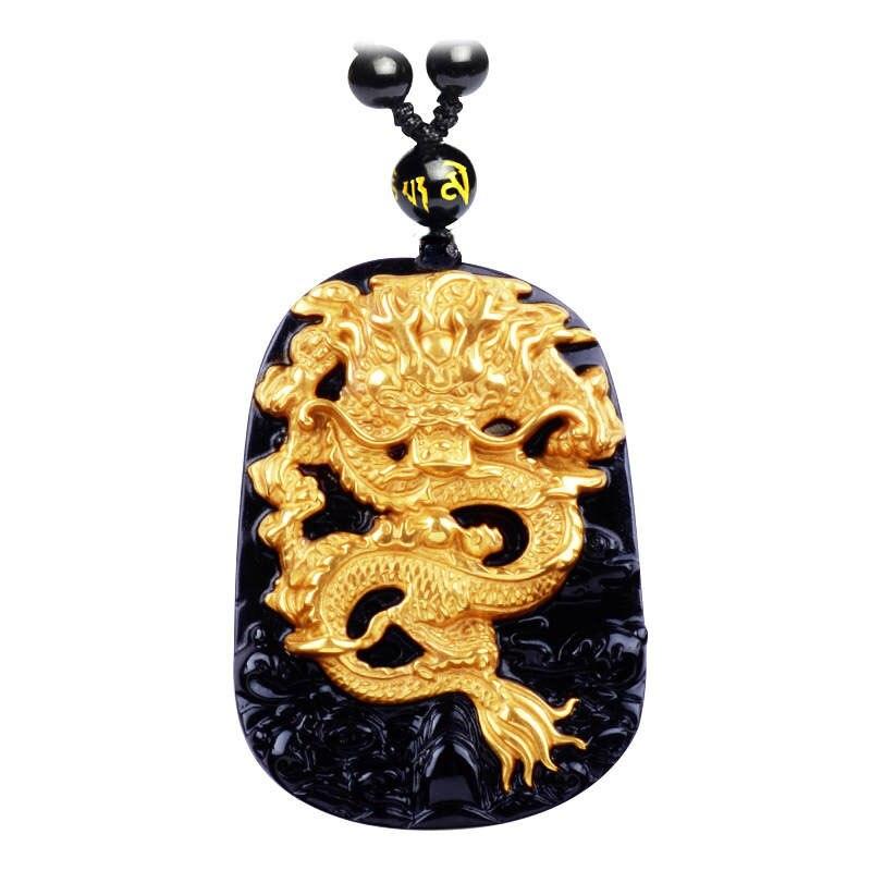 Commercio all'ingrosso di Oro Ossidiana Nera Naturale di Intagliare Drago Fortunato Amuleto Del Pendente Della Collana Per Le Donne Degli Uomini pendenti Jadee Gioielli