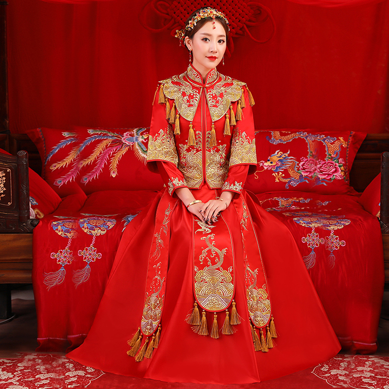 wedding dress Bridal Embroidery cheongsam Elegant toast suits Overseas Gown Traditional China Style bride Qipao Dresses womens