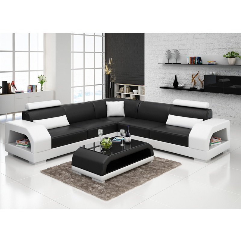 US $1589.0 |Modern living room furniture Italy black and white leather  sofa-in Living Room Sets from Furniture on AliExpress